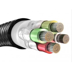 USB-A Male / Micro USB Male Angled Cable LED Metal Connector 1.2m