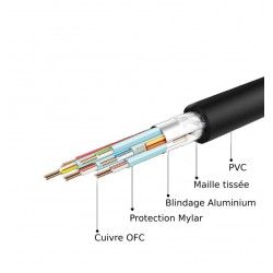Câble USB 2.0 USB-B mâle vers USB Type-C réversible mâle Plaqué Or OTG 2m