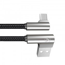 USB-A Male / Micro USB Male Angled 90° Cable Metal Connector 1.2m