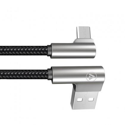Câble USB-A mâle / Micro USB Male Coudé Connecteur métal LED 1,2m