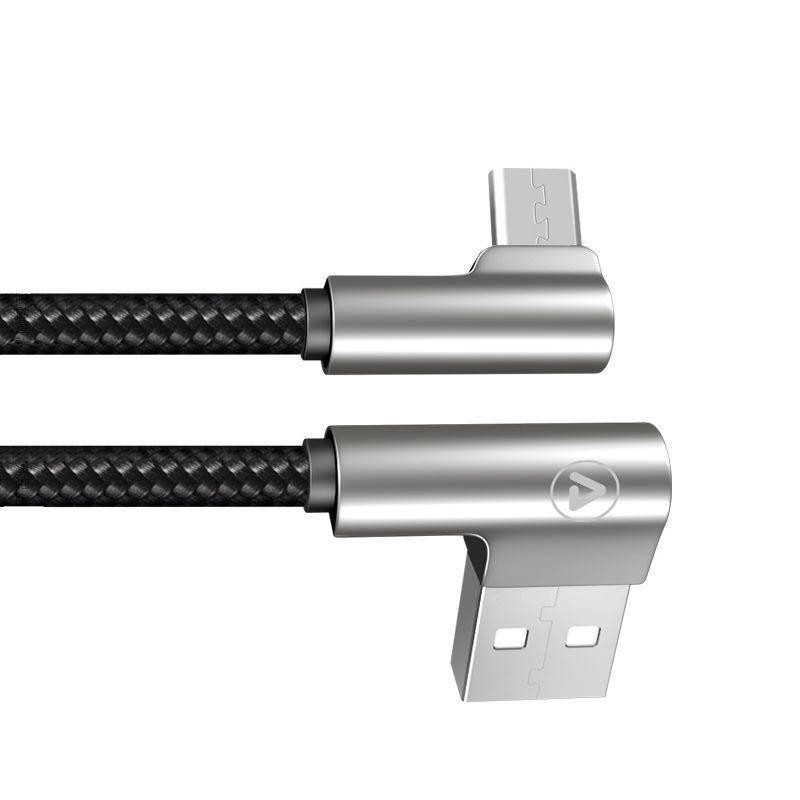Câble USB-A mâle / Micro USB Male Coudé 90° Connecteur métal 1m