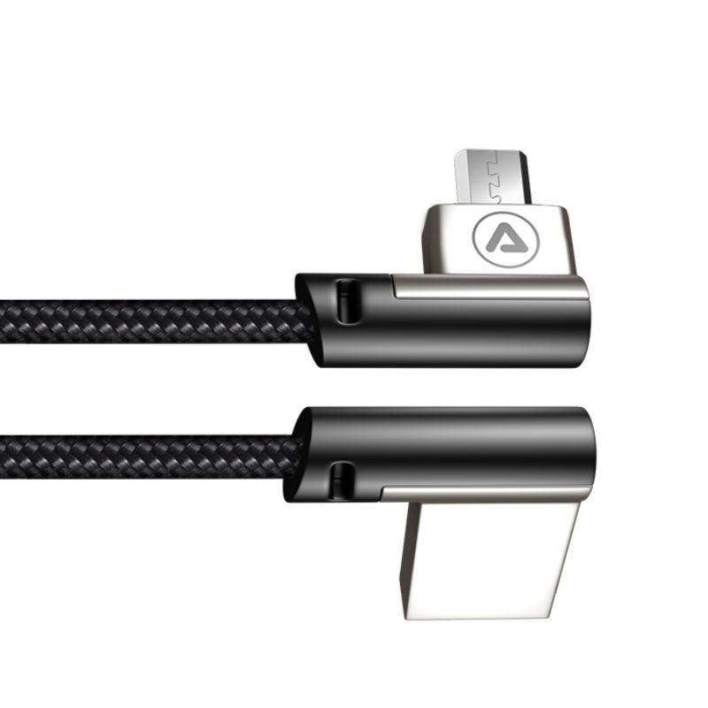 Câble USB-A mâle / Micro USB Mâle Coudé 90° Noir 1m