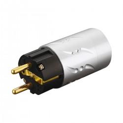 VIBORG VE502G Connecteur Secteur Schuko Cuivre Pur Plaqué Argent / Or 24k Ø20mm