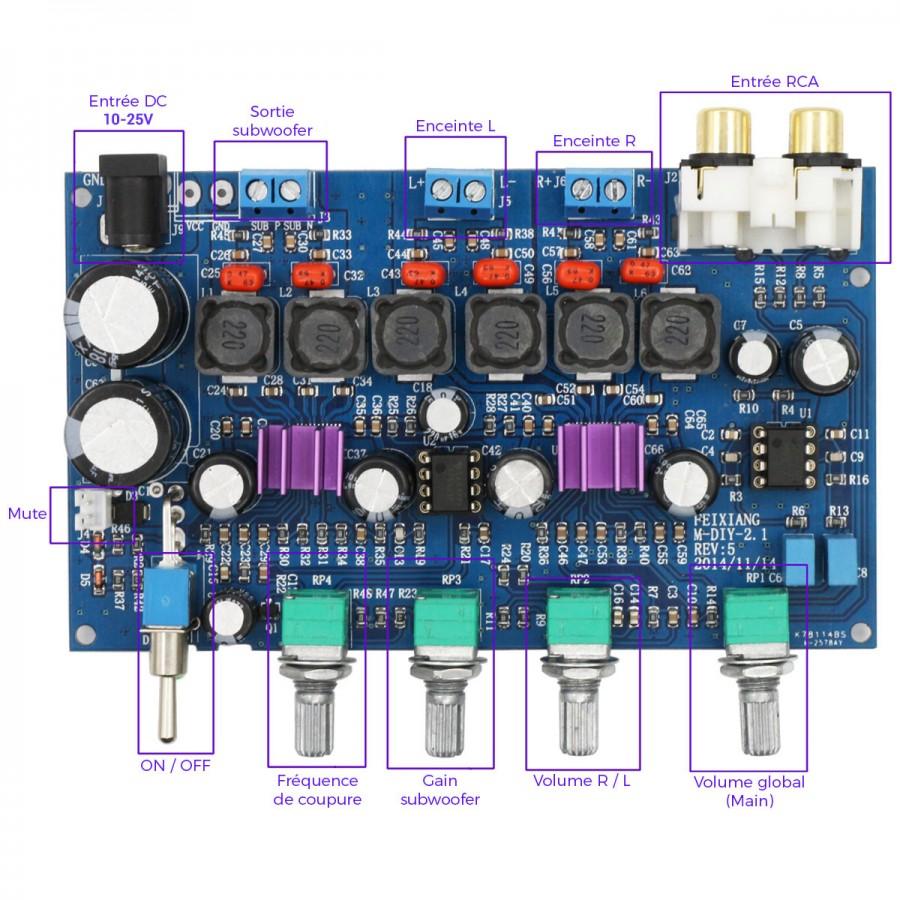 FX-AUDIO M-DIY-2 1 2x TPA3116D2 Class D Amplifier Module 2 1