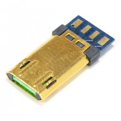 Connecteur Micro USB Mâle Réversible Plaqué Or