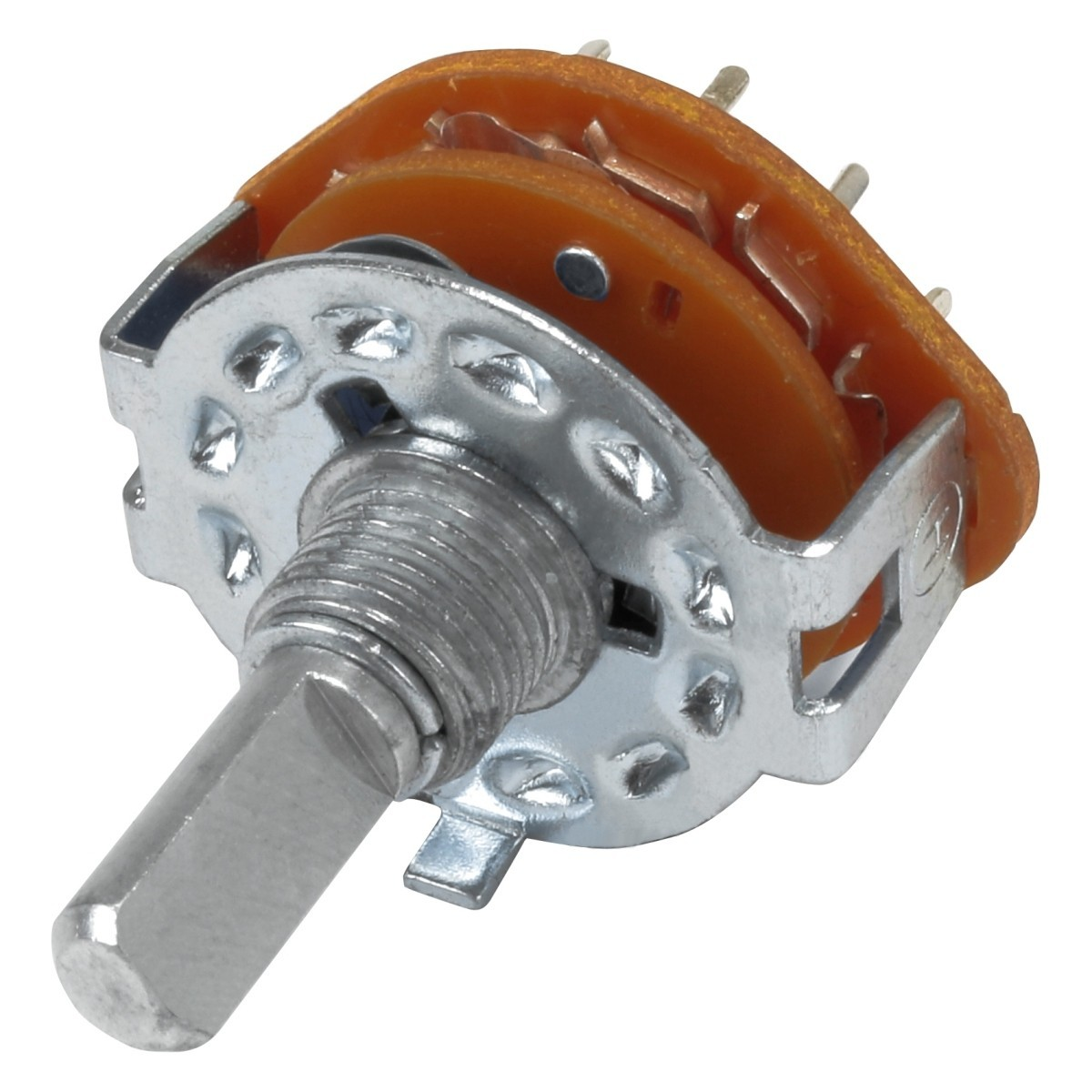 RS25 4 poles 3-position selector Ø6mm Flat Axis
