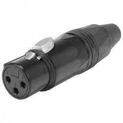 XLR Female Connector Gold Plated Black Ø 8mm (Unit)