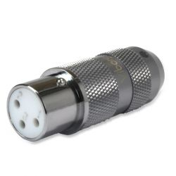 VIBORG XF-202R Rhodium Plated Pure Copper 3 Way Female XLR Connector Ø11mm Black (Unit)