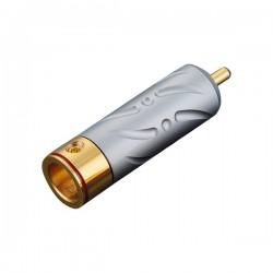 VIBORG VR109G Connecteur RCA Cuivre Pur Plaqué / Argent Or PTFE Ø9.5mm (Set x4)