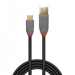LINDY ANTHRA LINE Câble USB-C 3.1 Mâle vers USB-A 3.1 Mâle Plaqué Or SuperSpeed+ 10Gbps 5A 0.5m