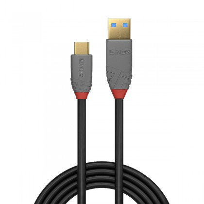 LINDY ANTHRA LINE Câble USB-C 3.1 Mâle vers USB-A 3.0 Mâle Plaqué Or SuperSpeed+ 10Gbps 5A 0.5m