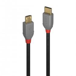 LINDY ANTHRA LINE Câble USB-C Mâle vers Micro USB Mâle 2.0 Plaqué Or 0.5m
