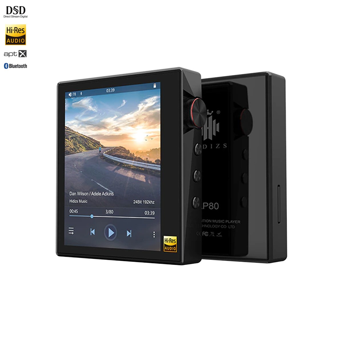 HIDIZS AP80 Baladeur Numérique HiFi DAC ES9218P 32Bit/384kHz DSD Bluetooth aptX Noir
