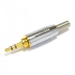 Connecteur Jack 3.5mm mâle stéréo 3 pôles Plaqué Or Ø5mm (Unité)