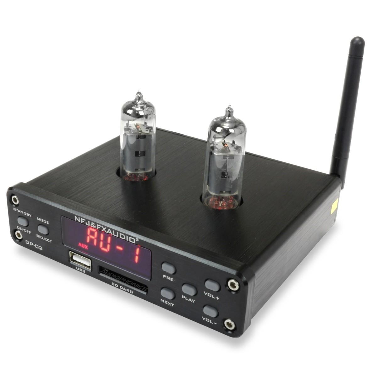 FX-AUDIO DP-02 Préamplificateur à Tubes 6K4 / Lecteur de fichiers USB SD / Bluetooth