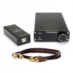 Pack Amplificateur 2x125W FX-AUDIO FX1002A + DAC USB FX-AUDIO FX01 + Câble RCA DYNAVOX