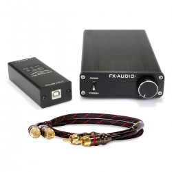 Pack FX-AUDIO FX1002A 2x125W Amplifier + FX-AUDIO FX01 USB DAC + DYNAVOX RCA Cable