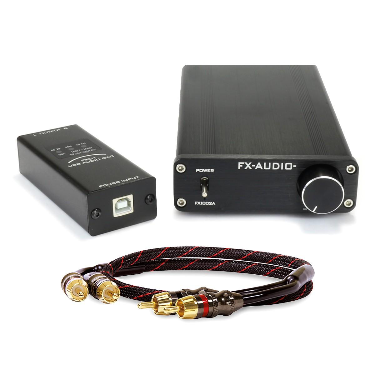 Pack FX-AUDIO FX1002A 2x125W Amplifier 4 Ohm + FX-AUDIO FX01 USB DAC + DYNAVOX RCA Cable