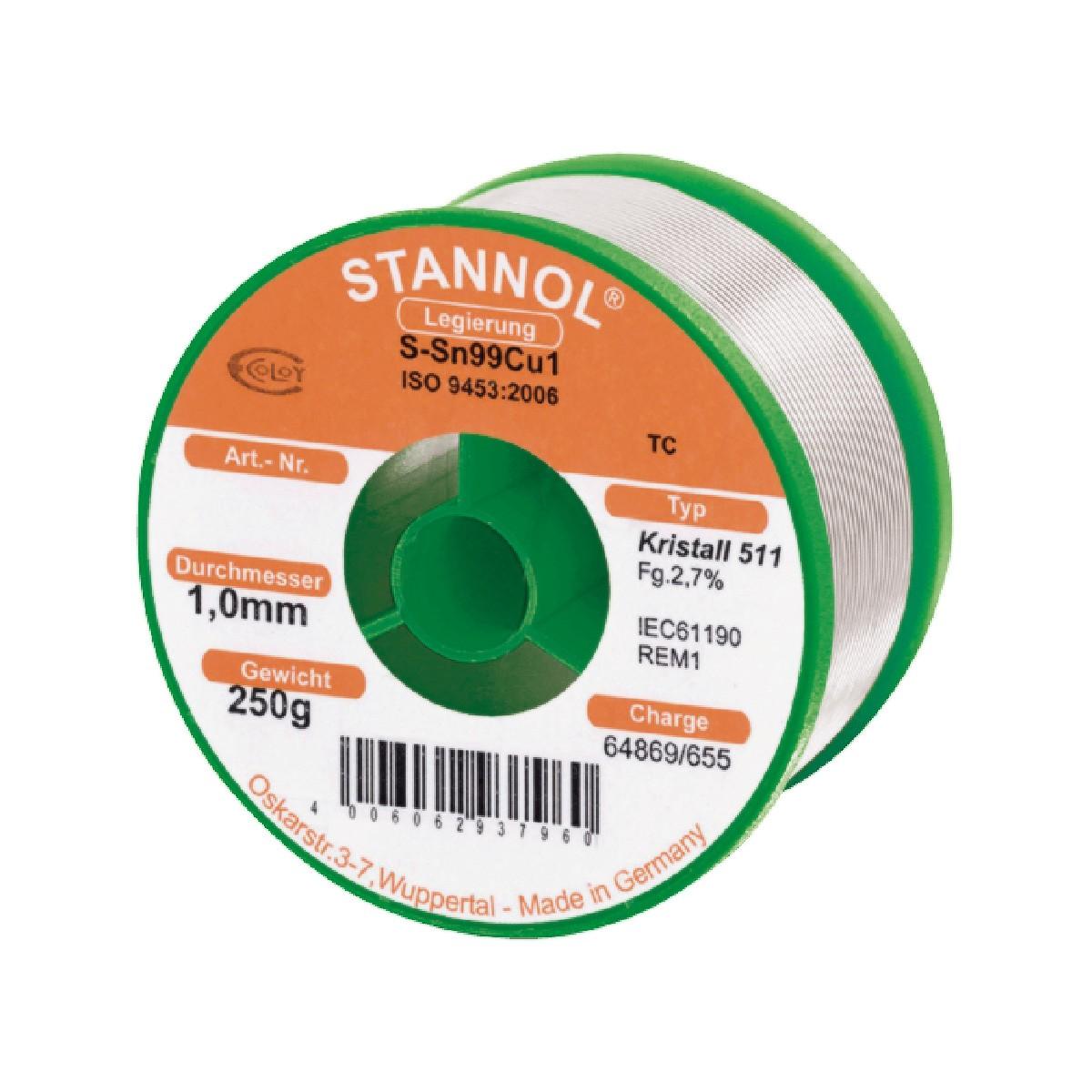 STANNOL CRYSTAL Étain à Souder 250g Ø1mm