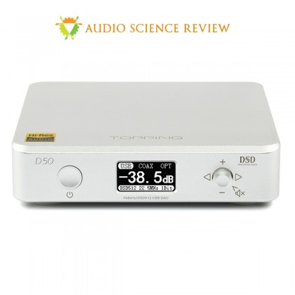 TOPPING D50 DAC ES9038Q2M x2 32bit/768kHz DSD512 XMOS U208 Argent