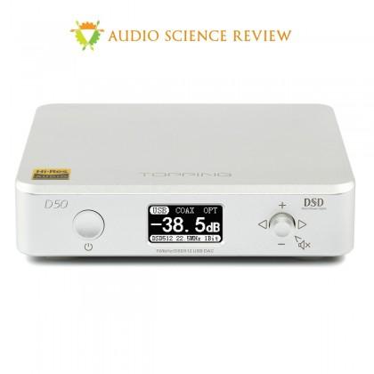 TOPPING D50 DAC ES9038Q2M x2 32bit/768kHz DSD512 XMOS U208 Silver