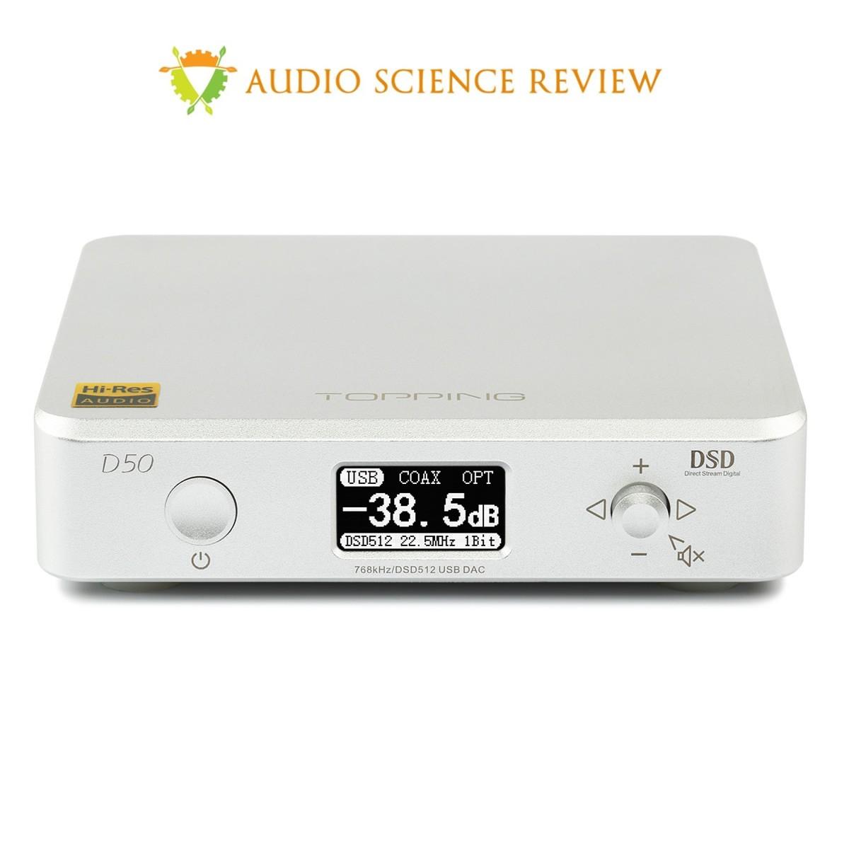 TOPPING D50 DAC 2x ES9038Q2M 32bit/768kHz DSD512 XMOS U208 Silver