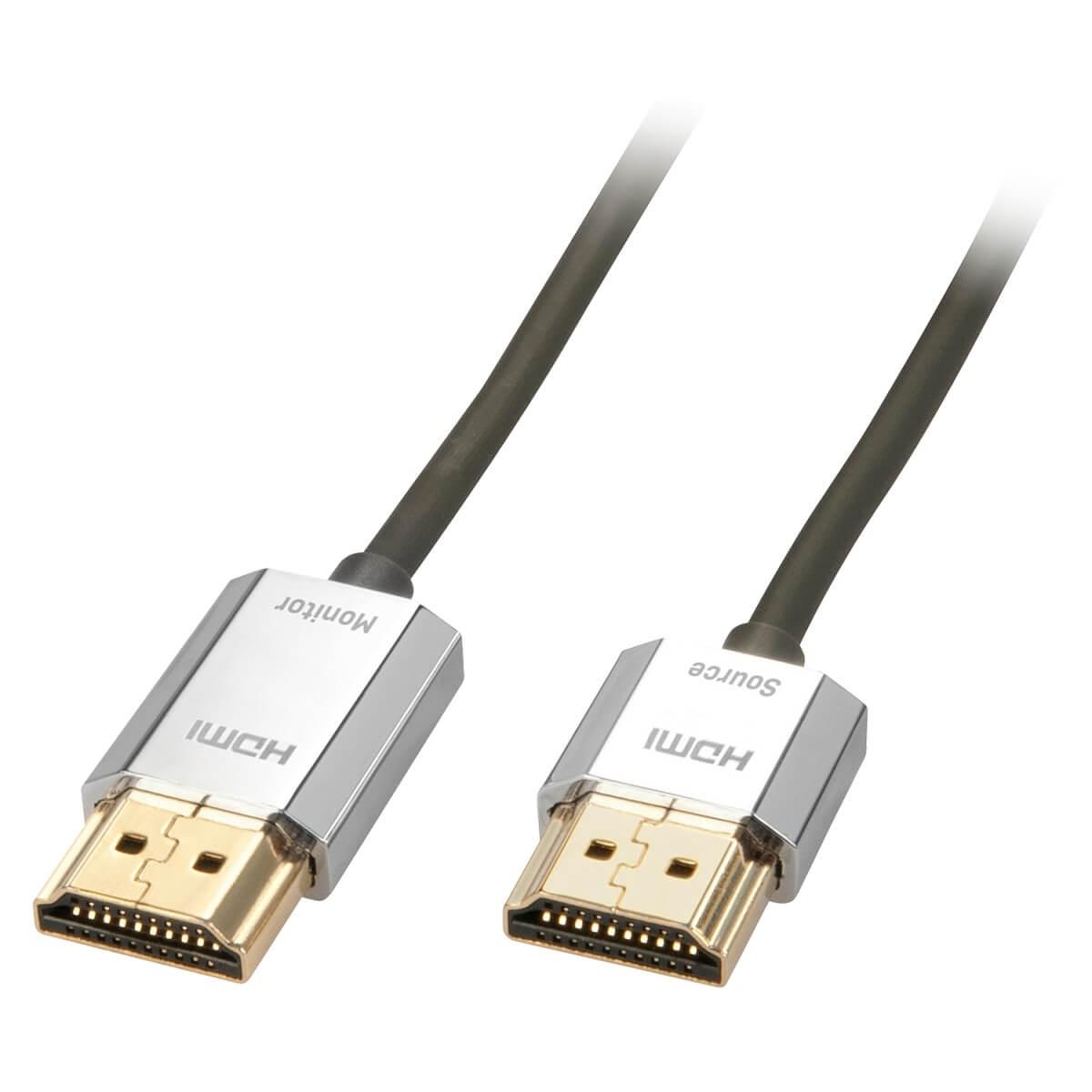 LINDY CROMO SLIM Câble HDMI 2.0 Actif Blindé Plaqué Or 3m