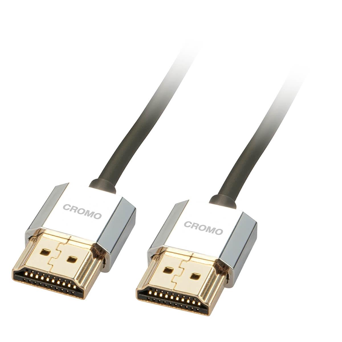 LINDY CROMO SLIM Câble HDMI 2.0 Blindé Plaqué Or 2m