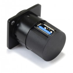Passe Cloison Embase USB-A 3.0 Femelle vers USB-A 3.0 Femelle Noir