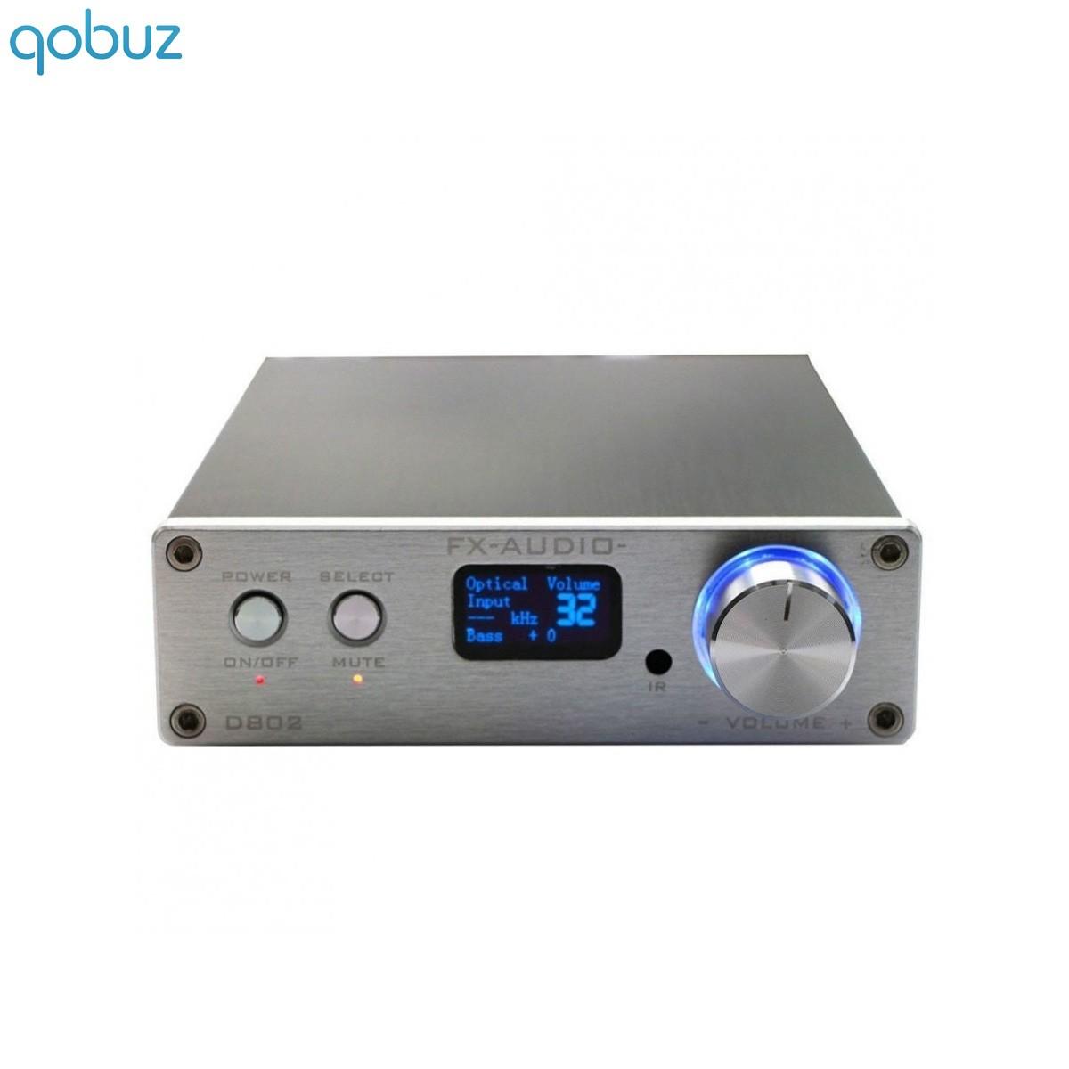 FX-AUDIO D802 Digital Amplifier STA326 Class D stereo 2x50W / 8 Ohm Silver
