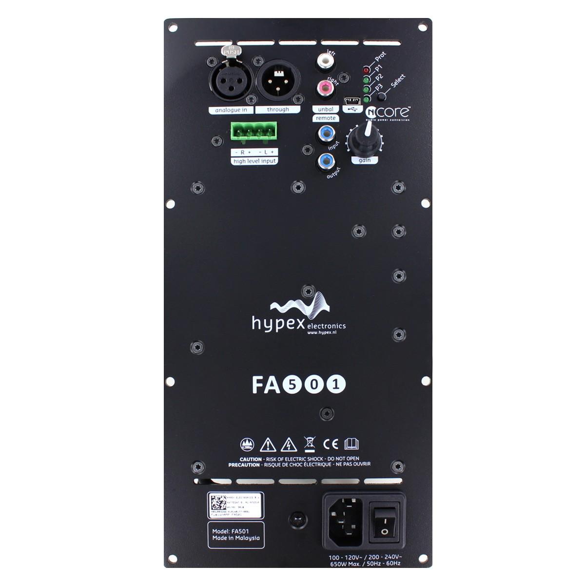 HYPEX FUSIONAMP FA501 Plate NCore Amplifier 1x500W DSP ADAU1450 DAC AK4454 192kHz