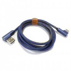 Male USB-A to Male USB-C 90° Angled Denim 1m