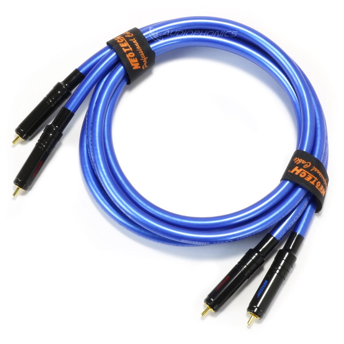 NEOTECH NEMOI-1120-2 Câble de Modulation Argent UP-OCC RCA-RCA Double Blindage Ø10mm 2m (La paire)