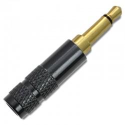 Connecteur Jack 3.5mm Mono 2 Pôles Plaqué Or Ø4mm Noir (Unité)
