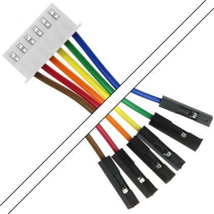 Câble XH 2.54mm Femelle / 2.54mm Standard Femelle 2 Connecteurs 6 pôles 15cm