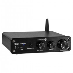 DAYTON AUDIO DTA-2.1BT2 Class D 2.1 Amplifier Bluetooth with Tone Control 2x50W + 100W 4 Ohm Black