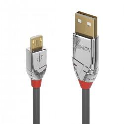 LINDY CROMO LINE Câble USB-A Mâle vers Micro USB-B Mâle 2.0 Plaqué Or 3m