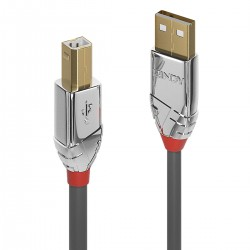 LINDY CROMO LINE Câble USB-A Mâle vers USB-B Mâle 2.0 Plaqué Or 1m
