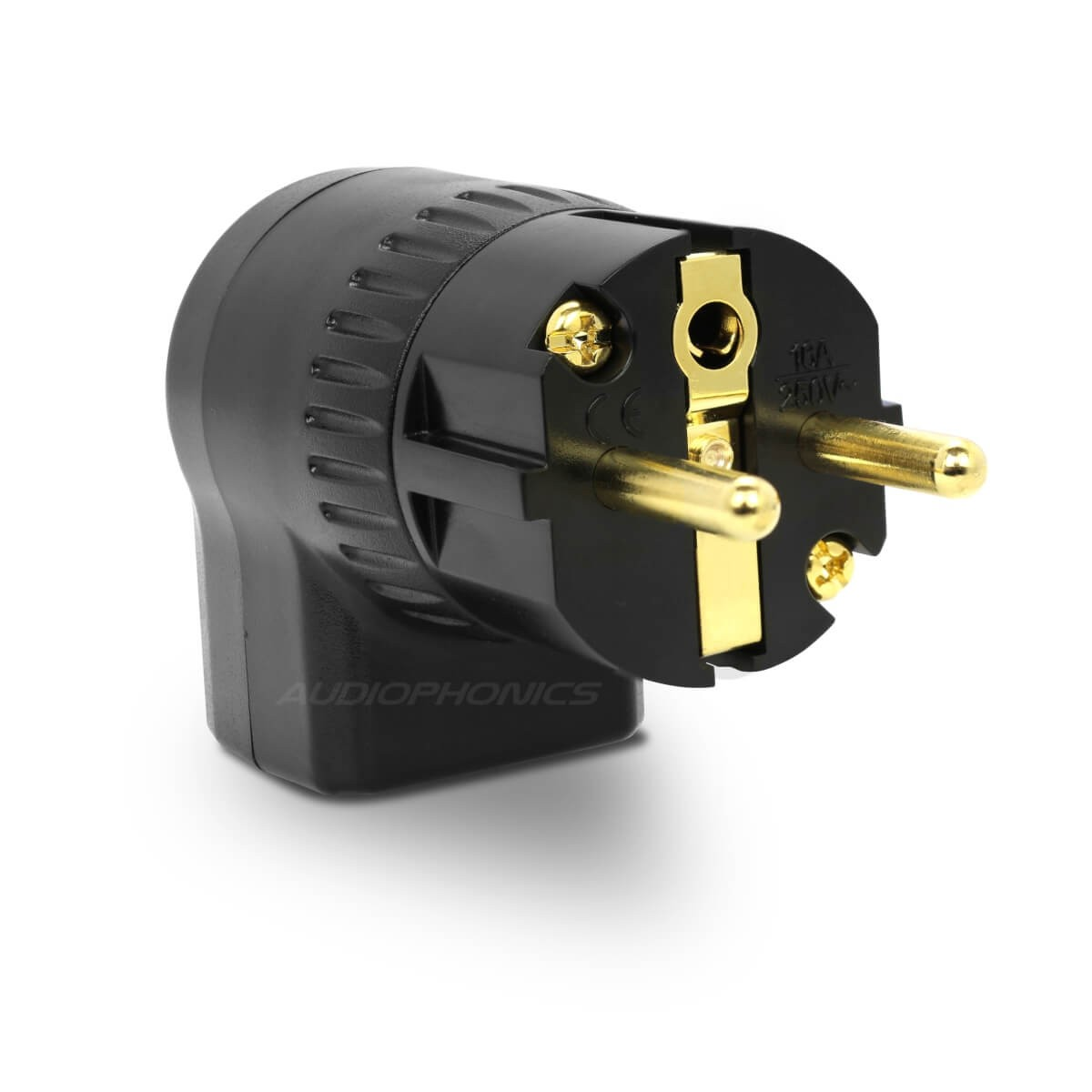 ELECAUDIO PS-24RA Schuko Connector Angled Rotative Ajustable Red Copper Gold Plated Ø20mm