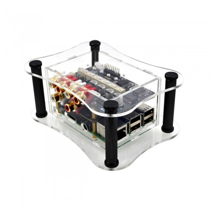 ALLO RPI + BOSS + RELAY ATTENUATOR CASE Boîtier Acrylique Transparent pour Raspberry 2 / 3 + DAC Boss + Relay Attenuator