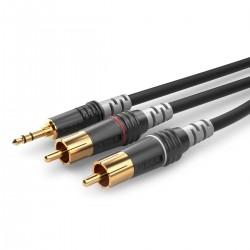 SOMMERCABLE HBA-3SC2 Câble RCA Stéréo Mâles vers Jack 3.5mm Stéréo Mâle 1.5m