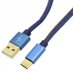 USB A Male to USB Cable-C Male Gold Plated Blue Jean 1m