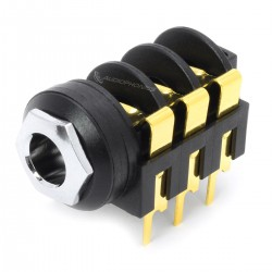 MONACOR MZT-223 Gold Plated Jack 6.35mm Stereo Plug for PCB (Unit)