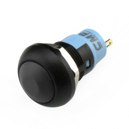 Waterproof Aluminum Push Button 1NO Ø18mm Black