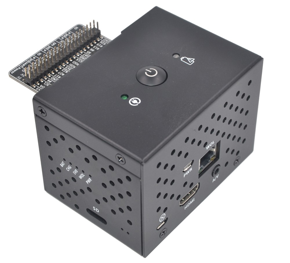 SUPTRONICS Aluminum Housing with Button for Raspberry Pi and X720