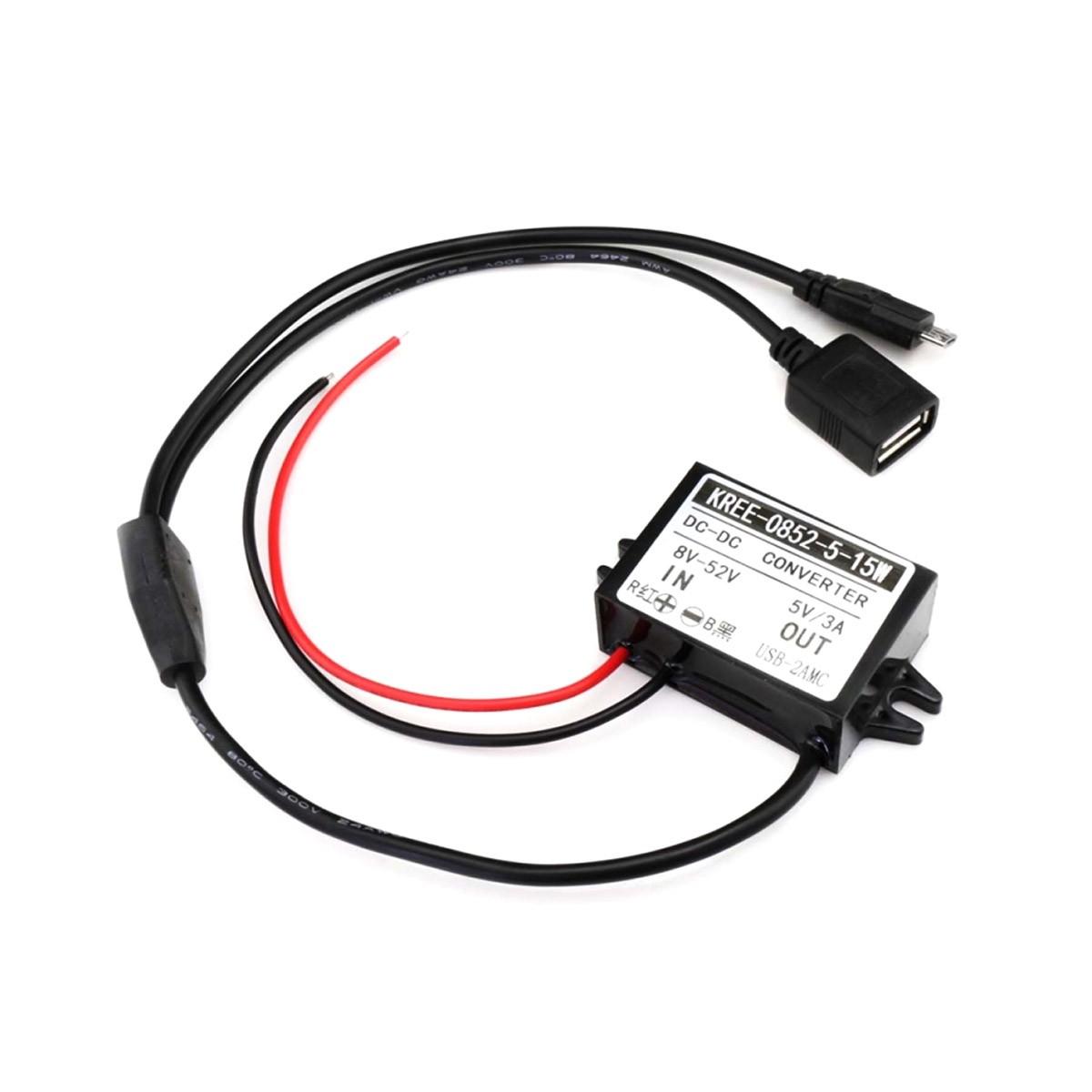 TINYSINE Adaptateur Convertisseur de Tension 8-52VDC vers 5VDC Micro USB / USB-A