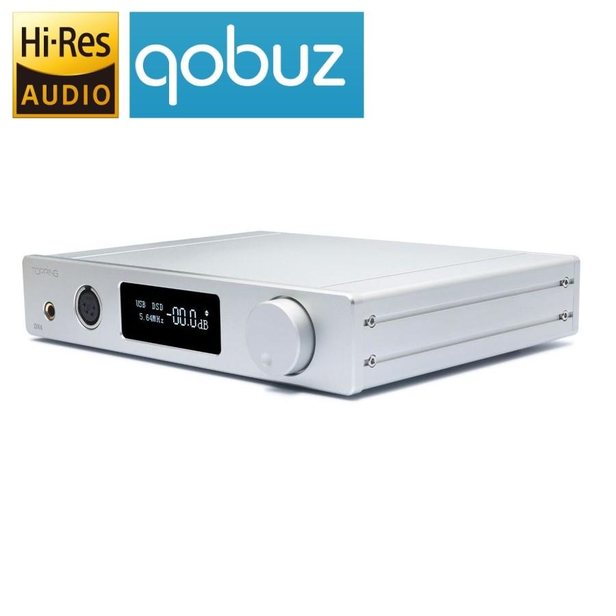 TOPPING DX7s 2xES9038Q2M DAC / Preamplifier / Headphone ampli DSD 32bit / 384kHz Symetrical Silver