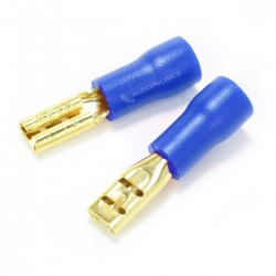 MUNDORF 2.8G Female Blade Connectors 2.8mm Isolated Gold Plated 1.5-2.5mm² Blue (Set x10)