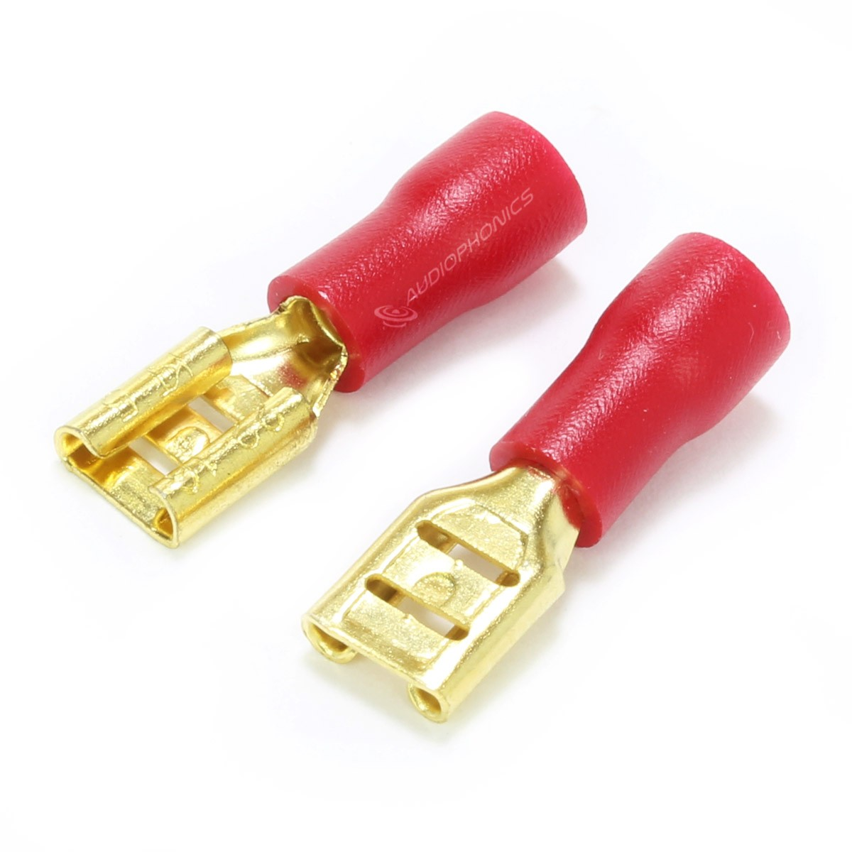 MUNDORF 4.8G Female Blade Connectors 4.8mm Isolated Gold Plated 0.5-1.5mm² Red (Set x10)