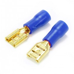 MUNDORF 4.8G Female Blade Connectors 4.8mm Isolated Gold Plated 1.5-2.5mm² Blue (Set x10)